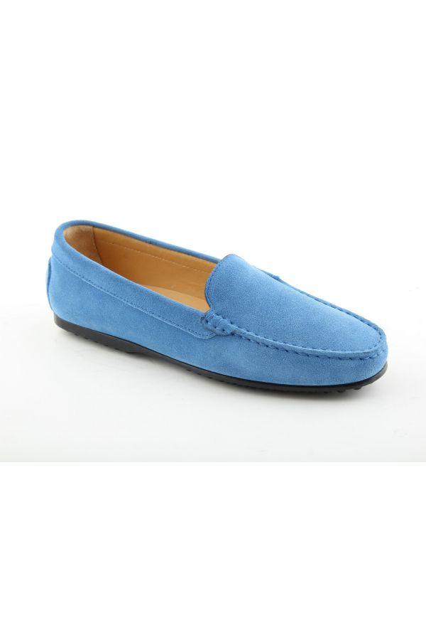 Zamszowe mokasyny damskie niebieskie