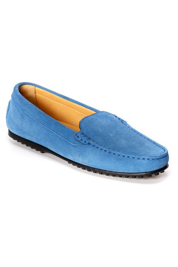 Mocassini in camoscio di colore blu