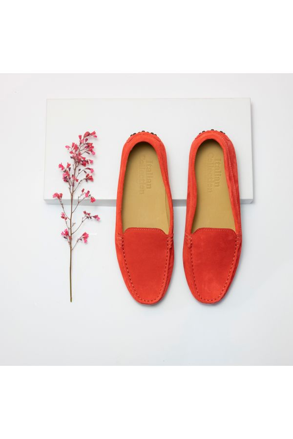 Suede red women's loafers