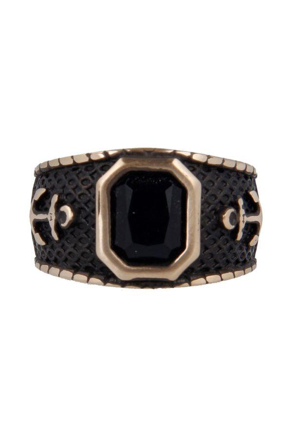 Anello Fascia Ancore Pietra Nera Black Vintage