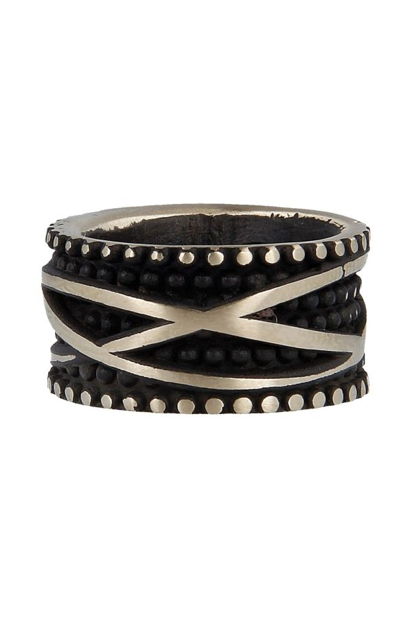 Ring with black studs and thread