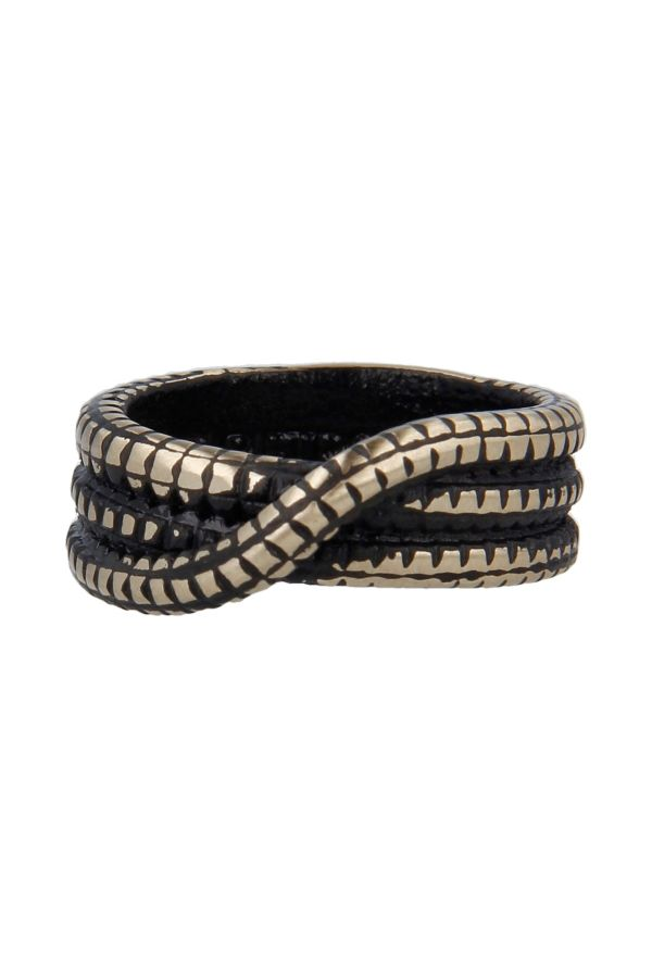 Interwoven bronze ring in Black Vintage style