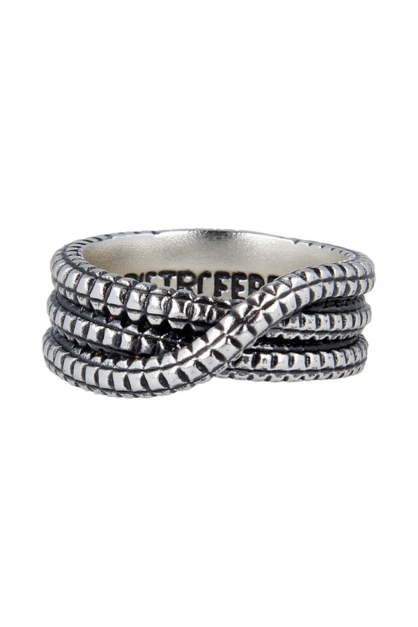 Interwoven silver ring