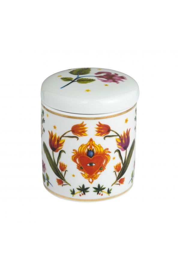 Candle in decorative ceramic jar colourful floral illustration