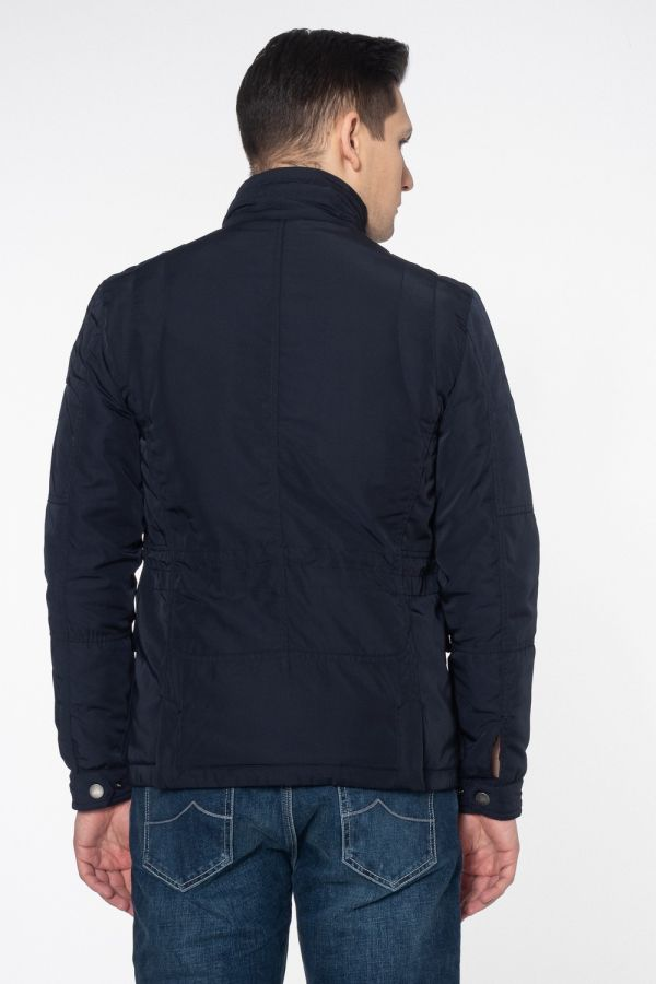Men blue down jacket with cuffs