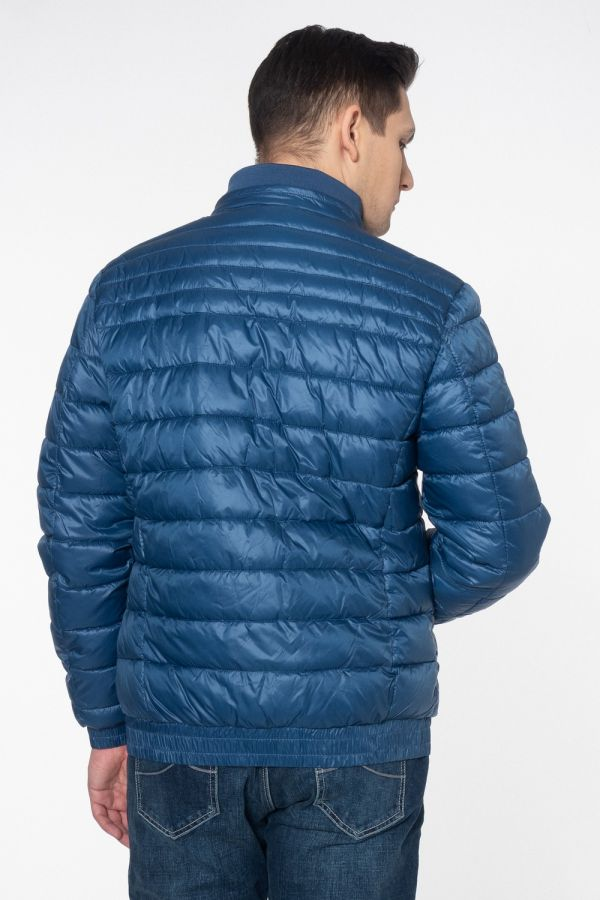 Blue quilted down jacket with pockets