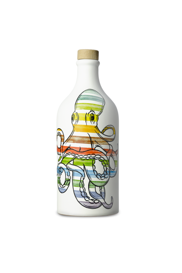 Octopus ceramic jar with medium fruity flavoured oil 500ml